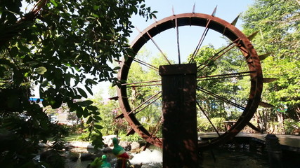 Wood Water wheel turbine, The use of water power for irrigation