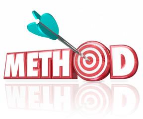 Method 3d Word Arrow in Target Bulls-Eye
