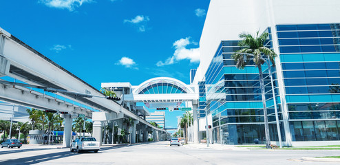Sunny roads of Miami, Florida, USA