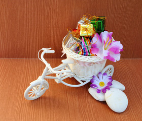 small gift box in plastic bicycle