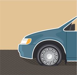Flat tire Color Vector