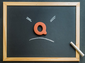Wooden Q character on black board