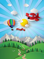 sunlight on cloud with hot air balloon and airplane.