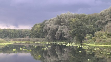 Time lapse of the river and the motion of the clouds before the