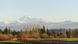 View of dormant volcano Mount Baker from the Fraser Valley