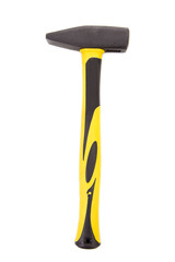 Hammer with yellow handle.