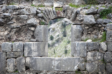 Kotor fortress old stone walls, Montenegro