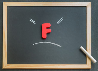 Wooden F character on black board