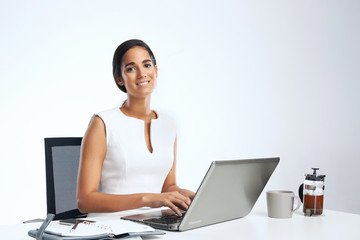 working at desk woman