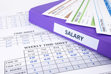 Employee time sheet and salary binder