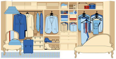 Wardrobe room with various shoes bags and clothes.Men