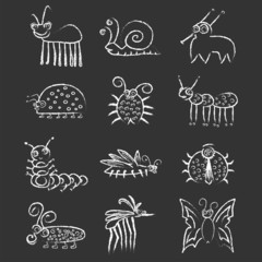 Bugs And Insects Icon Collection Set On Blackboard