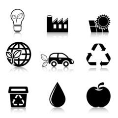 Ecology Icons Set with reflection