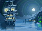 Nocturnal Adventure Island with Pirate Galleon Anchored Vector - 75527092