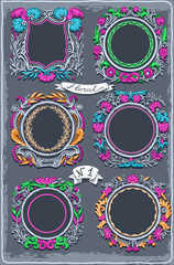 Set of Six Vintage Graphic Colored Garlands