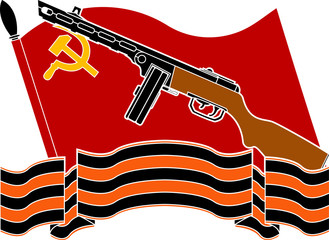 soviet flag, machine gun and georgievsky ribbon. stencil