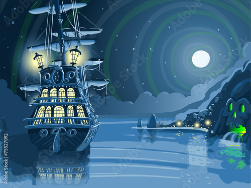 Nocturnal Adventure Island with Pirate Galleon Anchored Vector