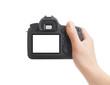 Leinwanddruck Bild - Camera in hand on white background