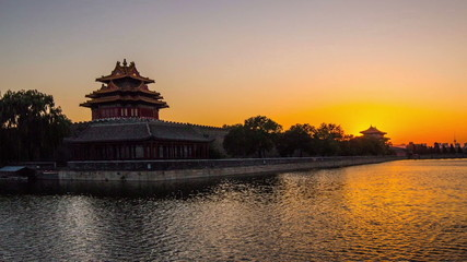 sunset at the turret of Palace Museum, Beijing, China