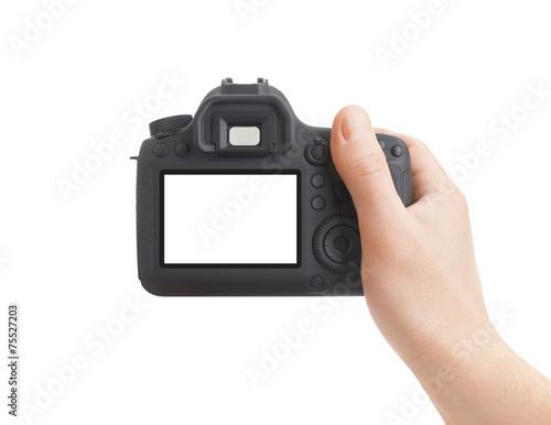 Leinwanddruck Bild Camera in hand on white background