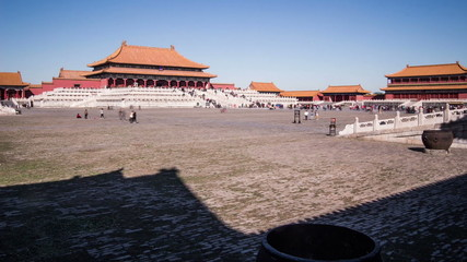 The square and the palace in Forbidden City, Beijing, China