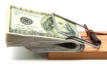 dólares en una ratonera