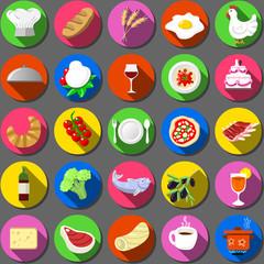 Twenty Five Flat Icon Italian Food Collection