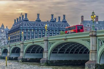 Red doubledecker bus on Westminster Bridge