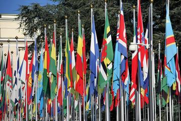 International flags at the United Nation, Geneva,