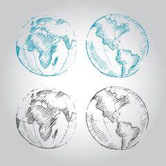 World Map Earth Globe. Sketch. Vector illustration.
