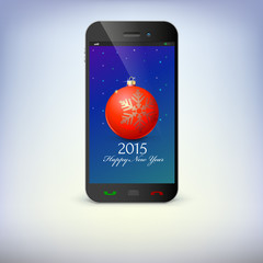 Front view of christmas phone isolated. New Year symbols in