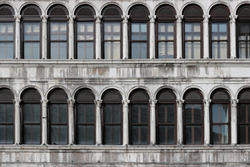 Venice, detail of the windows overlooking St. Mark's Square