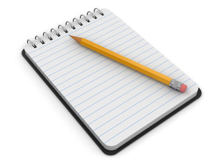 Notepad and Pencil (clipping path included)