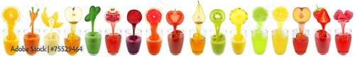 collage of fruit and vegetable juice - 75529464