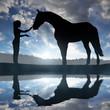 Obrazy na płótnie, fototapety, zdjęcia, fotoobrazy drukowane : Girl with a horse at sunset