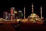 Грозный-Сити и Сердце Чечни ночью в неоновых огнях