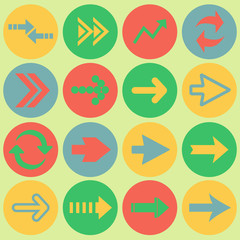 Arrow sign flat icon set. Simple internet button. Contemporary