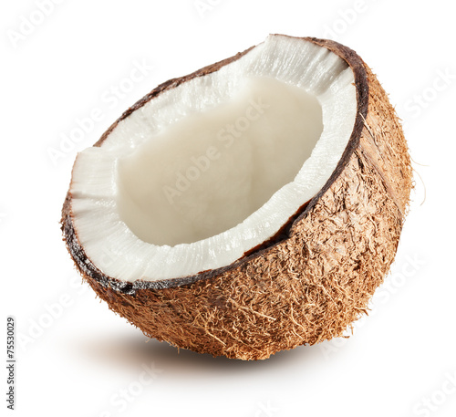 half of coconut isolated on white background © yurakp