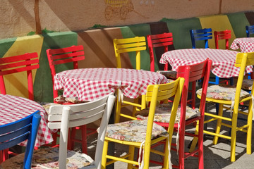 Colorful Chairs And Tables In Novi Sad, Serbia