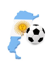 Argentina map with soccer ball