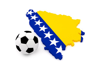 Bosnia and Herzegovina map with soccer ball