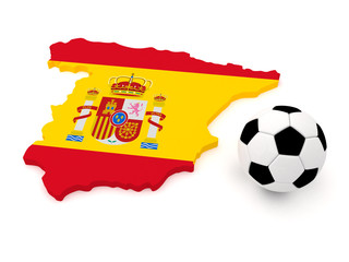 Spain map with soccer ball