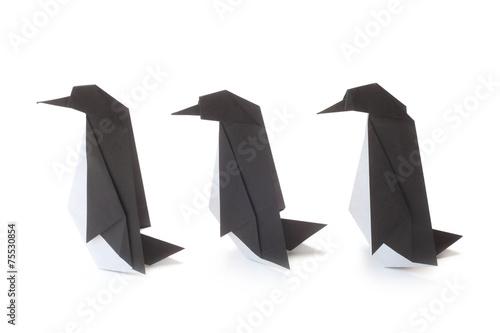 canvas print picture Origami Penguins
