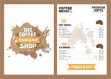 Coffee cafe menu, template design.Vector illustration.