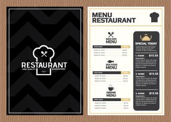 Restaurant menu, template design.Vector