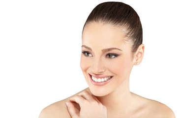 Beautiful face of young adult woman with clean skin