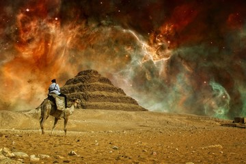 Step pyramid and Carina Nebula (Elements of this image furnished