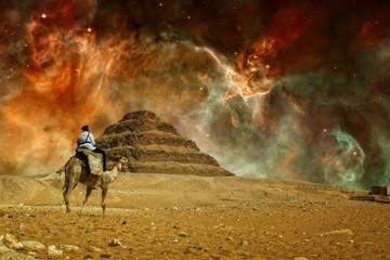 Step pyramid and Carina Nebula (Elements of this image furnished