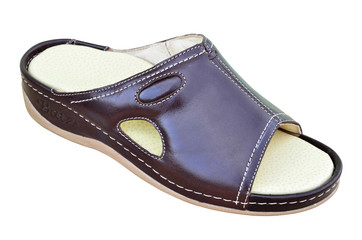 Orthopedic leather sandal with supination