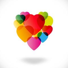 Saint Valentin - Cœurs multicolores